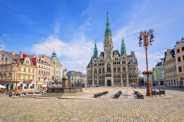 Town hall and central square in Liberec, Czech Republic