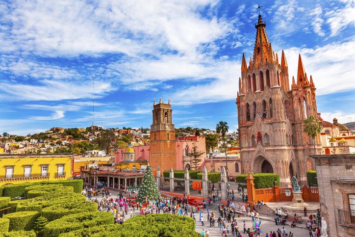 San Miguel de Allende, Mexico - December 27, 2014: Parroquia Archangel church Jardin Town Square Rafael Chruch San Miguel de Allende, Mexico. Parroaguia created in 1600s.