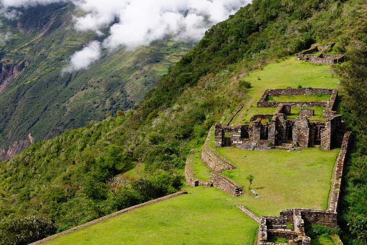 South America - Choquequirao lost ruins (mini - Machu Picchu), remote, spectacular the Inca ruins near Cuzco
