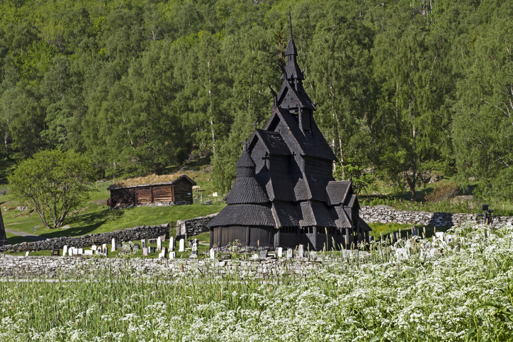 Borgund - stave church from the 12th century located in Laerdal in Norway