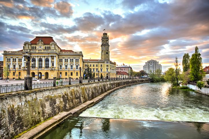 Oradea city hall seen at dawn, Romania.
