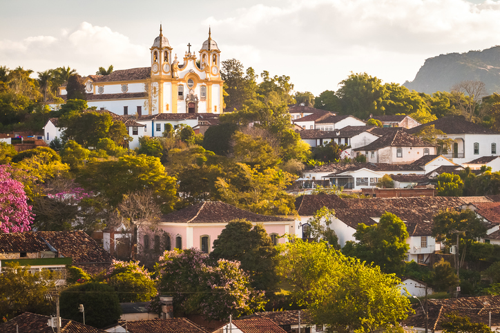 Partial view of the historic city of Tiradentes, Minas Gerais, Brazil. In the background the Mother Church.