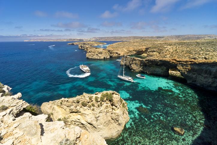 Malta, Comino island, panoramic view of the cliffs and the seaMalta, Comino island, panoramic view of the cliffs and the sea