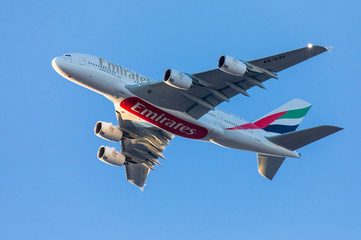 East Hills, NY, USA - March 11, 2018:  Emirates A380 aircraft approaching JFK International Airport in New York City.