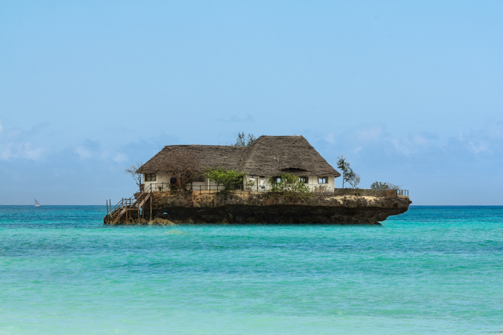 Zanzibar, Tanzania - September 2012: Rock Restaurant over the sea in Zanzibar, Tanzania