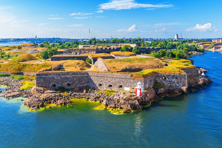 Scenic summer aerial view of Suomenlinna (Sveaborg) sea fortress in Helsinki, Finland