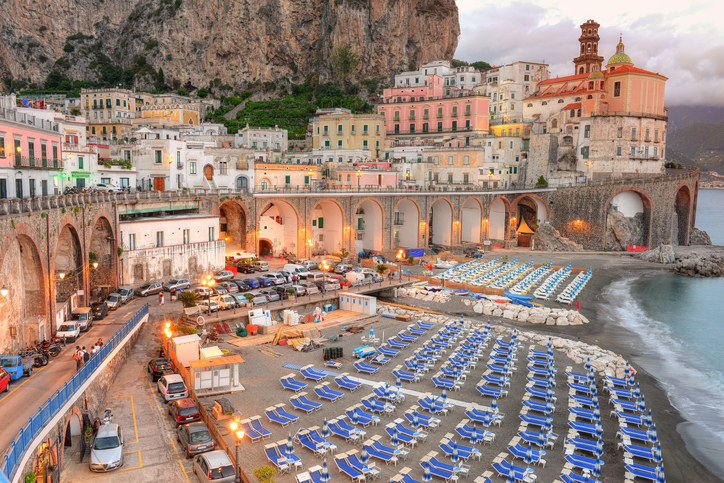 Beautiful Atrani, Amalfi coast surprised at sunset. Atrani has a surface area 0.12 km2 making it the smallest community in all of Italy.