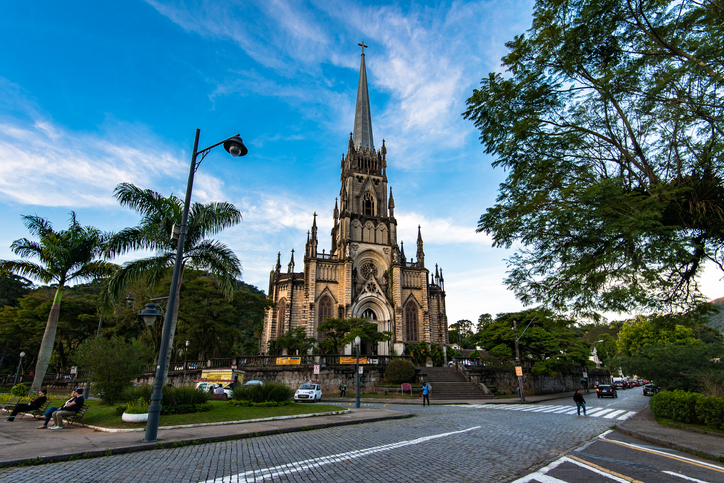 Petropolis, Brazil - May 25, 2017: The Sao Pedro de Alcantara Cathedral is one of the many touristic attractions in Petropolis, a city in the mountains near Rio de Janeiro.