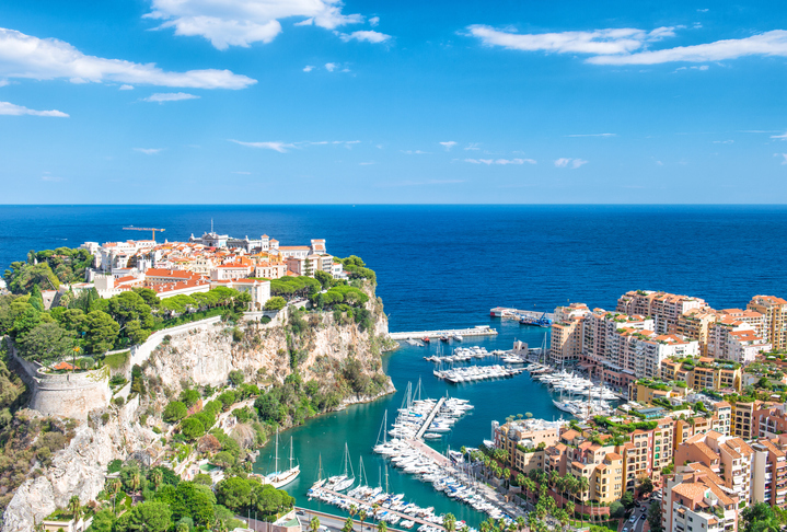 Monaco, Fontvieille, new district of Monaco with marina. Mediterranean sea, french riviera with blue sky