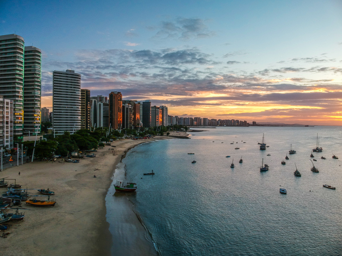 Mucuripe Beach at sunset. Fortaleza, Ceara State, Brazil