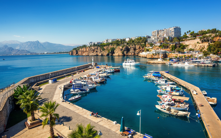 Antalya is a popular resort town on Mediterranean Sea, Turkey
