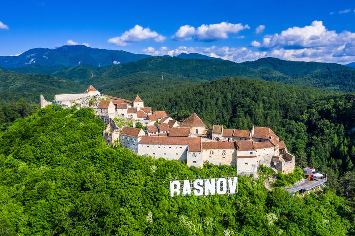 Brasov, Transylvania, Romania. Aerial view of Rasnov Fortress.