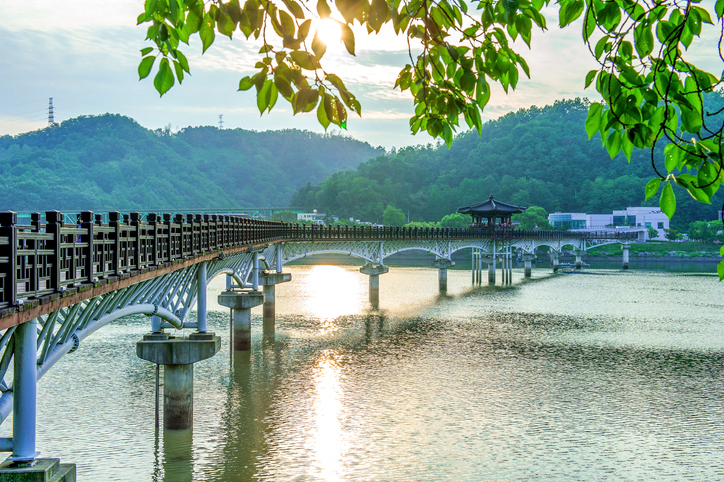 Wooden bridge or Wolyeonggyo bridge in Andong,Korea.
