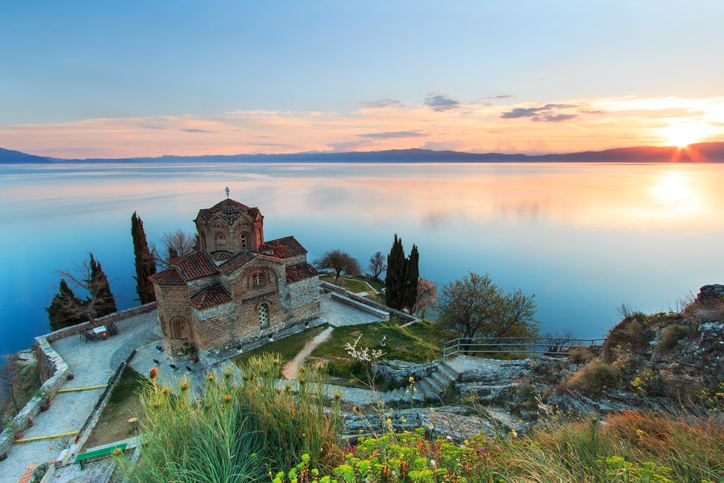 Sveti (Saint) Jovan Kaneo Church on Lake Ohrid, Macedonia at sunset