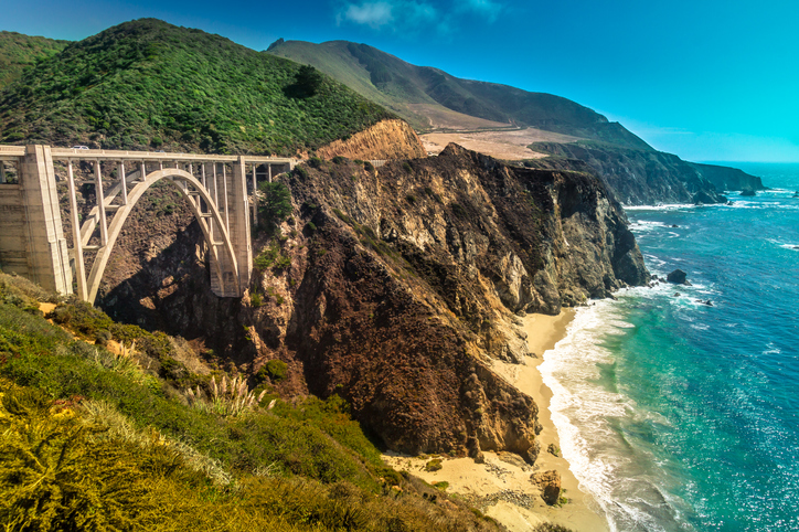 Bixby Creek Bridge on Pacific Coast Highway #1 at the US West Coast traveling south to Los Angeles, Big Sur Area, California. Picture made during motorcycle roadtrip.