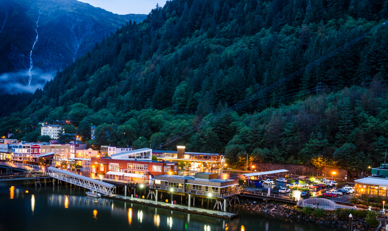 Juneau, United States – September 09, 2016: The port city is the state capital and frequently visited by cruise ships.