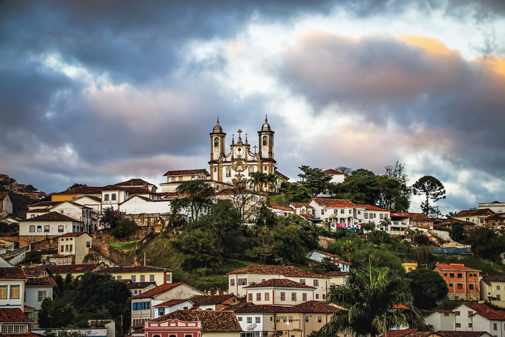 Sunset Over Hilltop Colonial Town (Ouro Preto, Minas Gerais, Brazil) with view of Historic Cathedral.