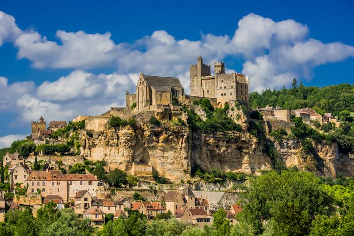 Beynac, France - June 22, 2012: exterior of Chateau de Beynac castle Dordogne Perigord France