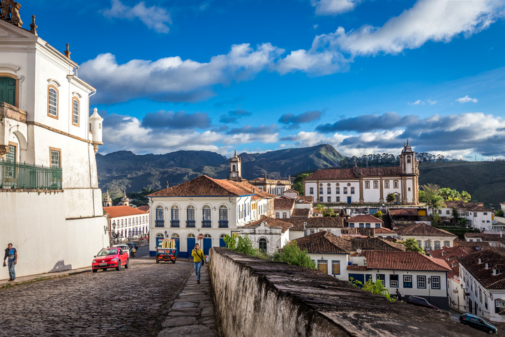 Ouro Preto, Brazil - December 2, 2014: Street scene of The centre of The city  with typical architecture ,UNESCO world heritage city center of Ouro Preto in Brazil
