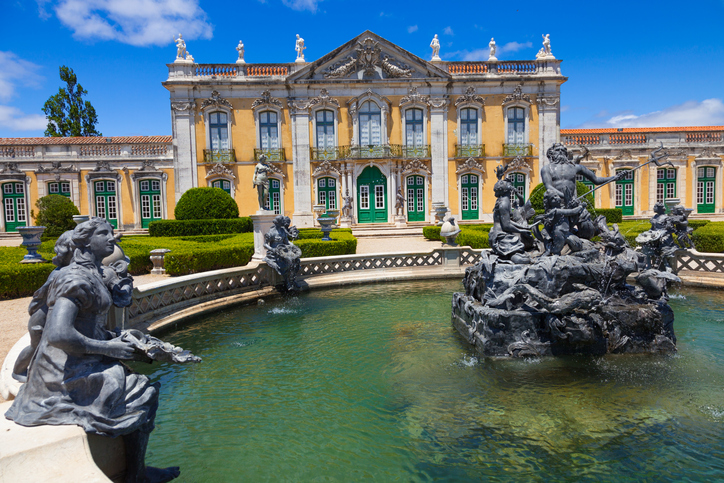 Queluz, Portugal - July 4, 2012: Queluz National Palace. Ceremonial facade of the corps de logis at a summer day. Noboy in the image