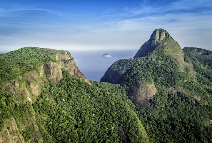 Aerial view of Rio de Janeiro's Pedra da Gavea Mountain, Brazil