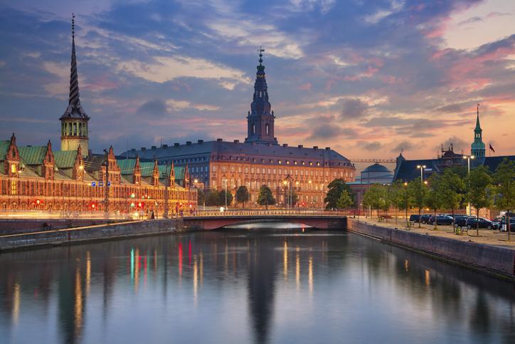 Image of Copenhagen, Denmark during twilight blue hour.