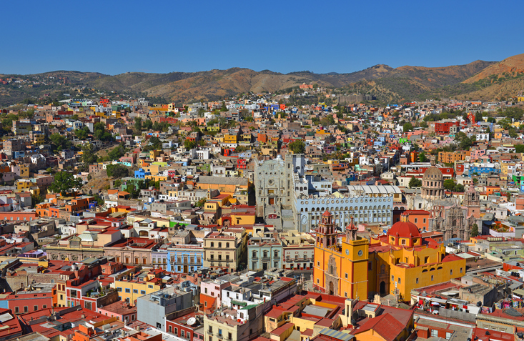 The classic skyline of Guanajuato city during day time with blue sky in Mexico.