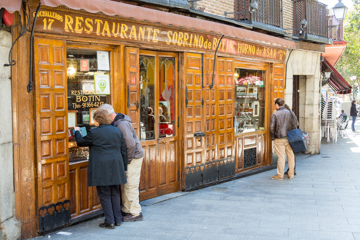 Madrid, Spain - March 6, 2015: The oldest continuously operating restaurant in the world is in Madrid, Spain, since 1725. The Sobrino de Botín.