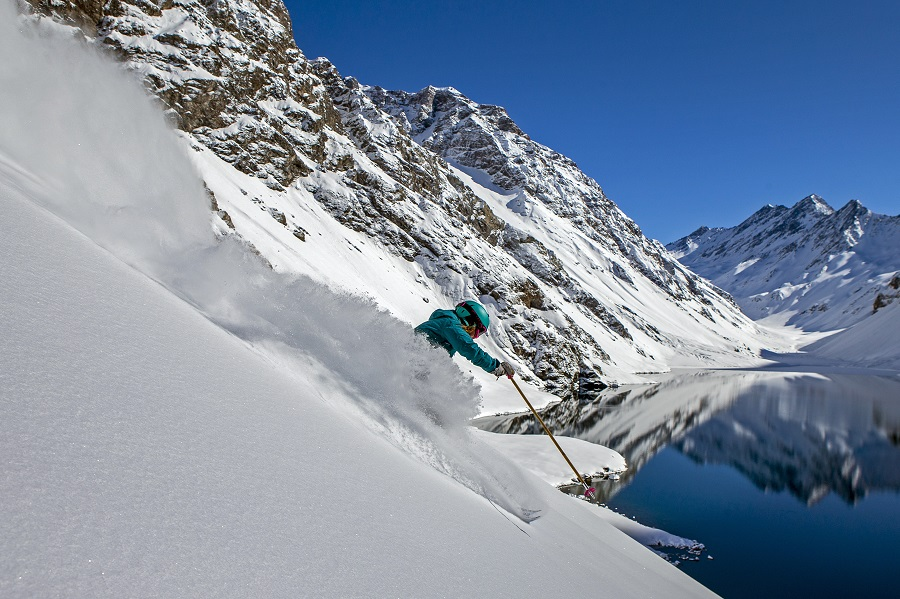 September 8, 2015 - Portillo, Chile: Mali Noyes skiing powder in the Andes.