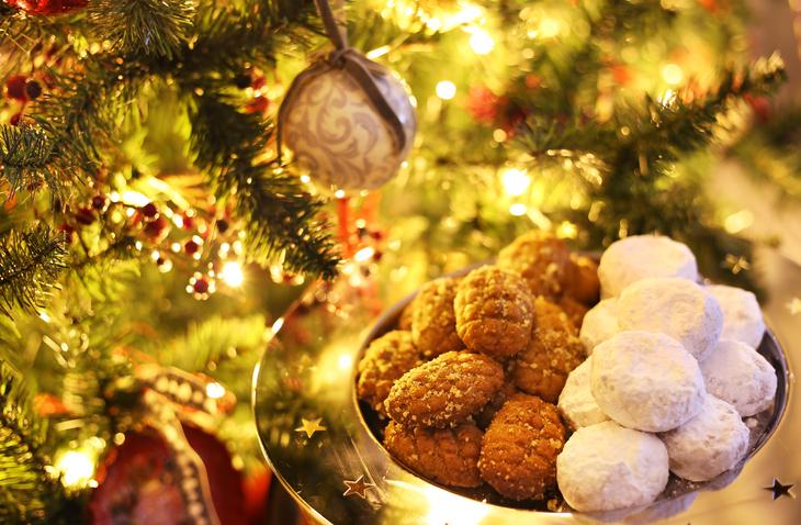 greek melomakarona and kourabies traditional Christmas