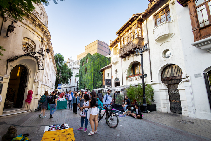 Santiago, Chile - Mar 8, 2018: Lastarria neighborhood - Santiago, Chile