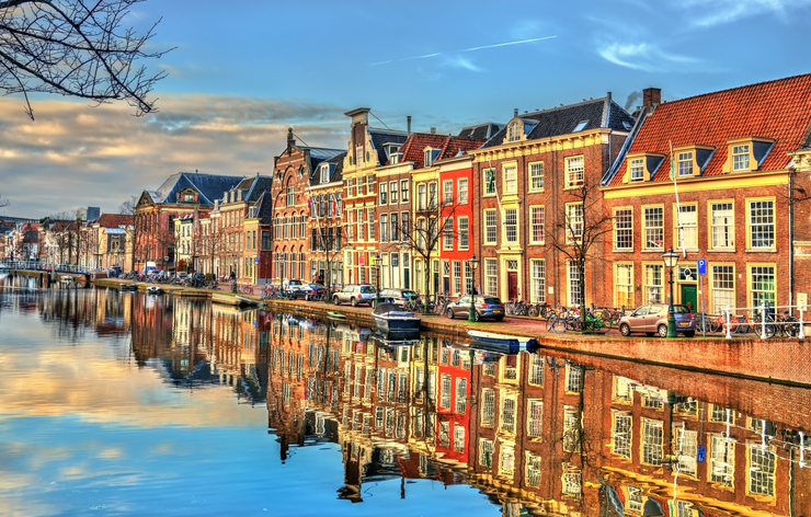 Traditional houses beside a canal in Leiden - South Holland, the Netherlands