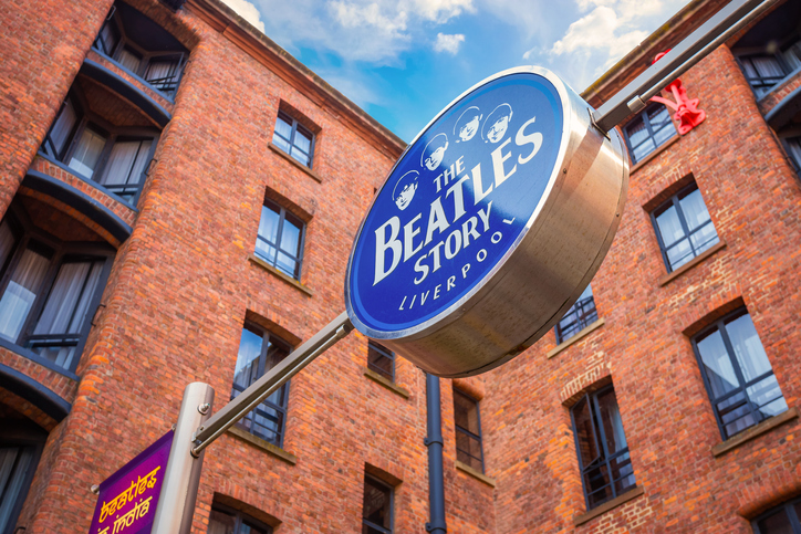 Liverpool, UK - May 17 2018: The Beatles Story located on the historical Albert Dock, opened on 1 May 1990. The museum was also recognised as one of the best tourist attractions of the United Kingdom in 2015