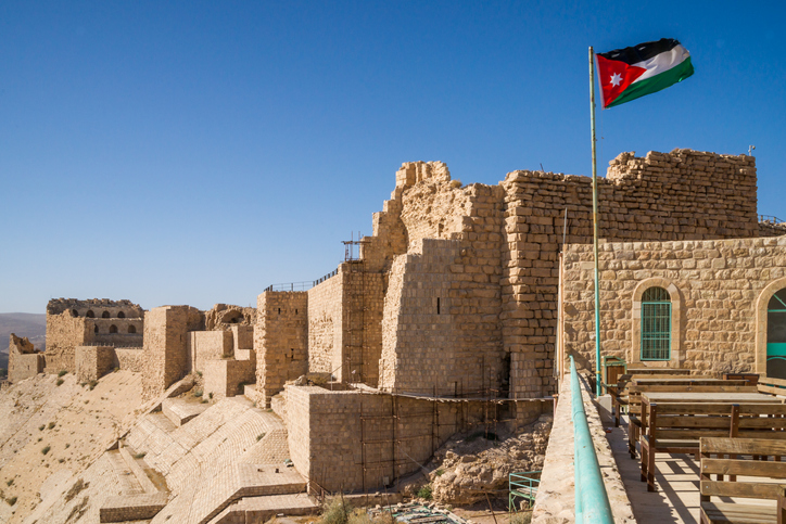 The impressive walls of the old crusaders castle of Karak in Jordan