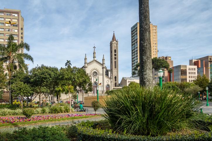 Dante Alighieri Square and Santa Teresa D'Avila Cathedral - Caxias do Sul, Rio Grande do Sul, Brazil