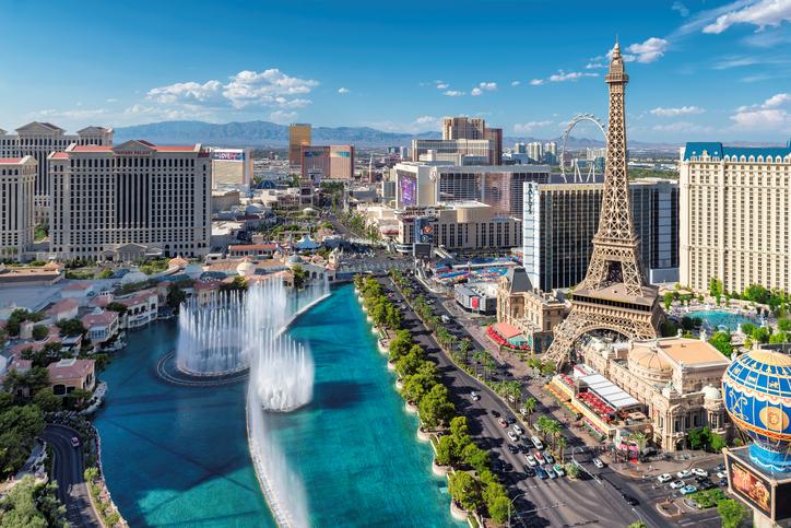 Las Vegas, USA - July 24, 2017: The famous Las Vegas Strip with the Bellagio Fountain Show.