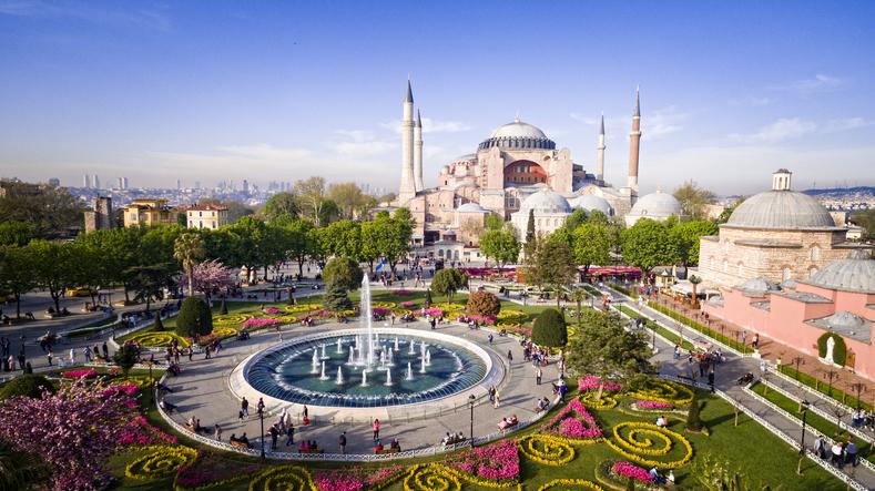 Aerial view of Hagia Sophia in Istanbul, Turkey.