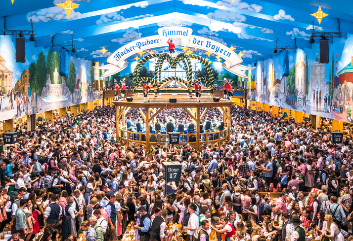 Munich, Germany - October 1: famous beer tent called Hacker-Pschorr and people at the biggest folk festival in the world - the oktoberfest on oktober 1, 2018 in munich.