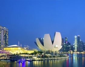 Singapore, Singapore - February 08, 2014: Marina Bay Sands, Artscience museum and helix bridge.