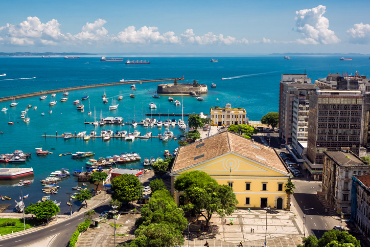 View of beautiful All Saints Bay in Salvador, Bahia, Brazil