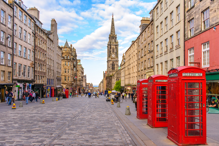 Edinburgh, Uk - May 20, 2012: street view of Edinburgh, it is Scotland's second most populous city and the seventh most populous in the United Kingdom
