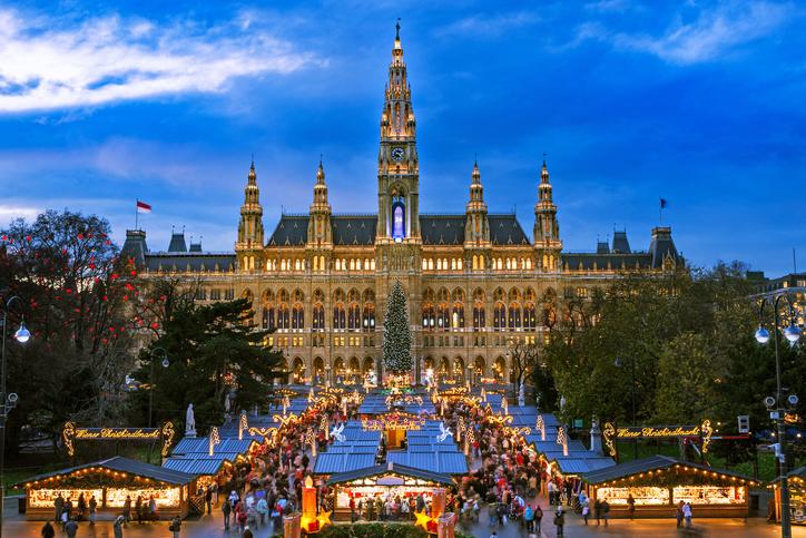 Christmas Market Vienna, traditional market at Vienna Town Hall in December