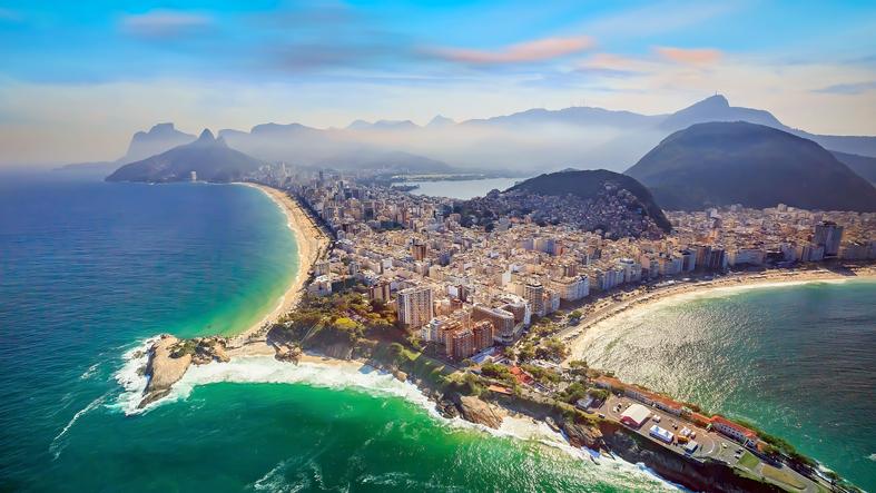 Aerial view of famous Copacabana Beach and Ipanema beach in Rio de Janeiro, Brazil