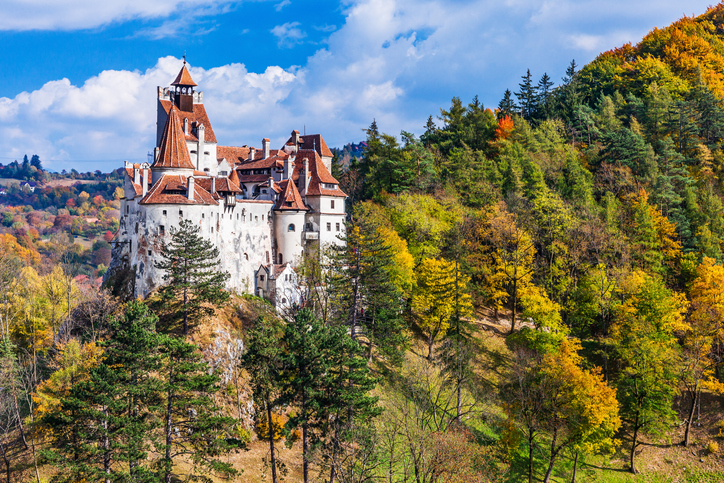 Brasov, Romania - October 10th 2018: The medieval Castle of Bran, known for the myth of Dracula.