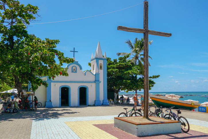 Church of Sao Francisco De Assis. Little church in the middle of the village of Praia Do Forte, Famous tourist attraction. Praia Do Forte, State of Bahia, Brazil