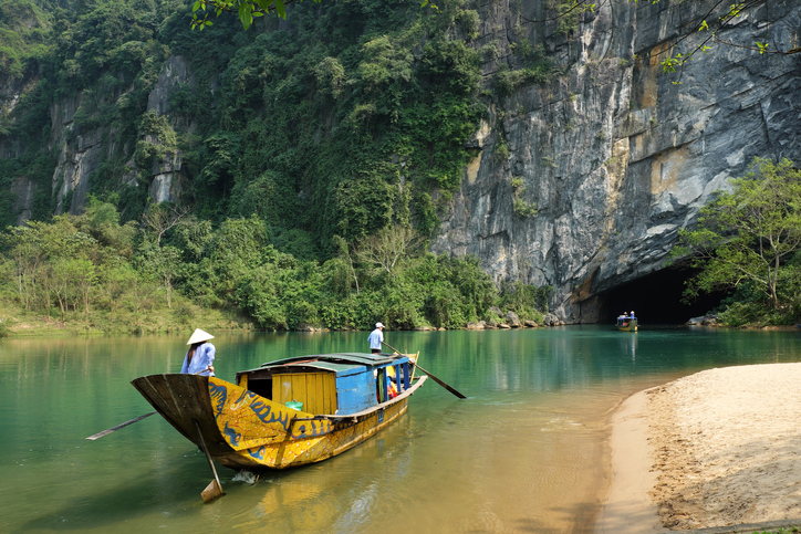 Quang Binh, Viet Nam - February 22, 2016: Phong Nha, Ke Bang cave, an amazing, wonderful cavern at Bo Trach, Quang Binh, Vietnam, is world heritage of Viet Nam,  traveller visit by boat on water,  wonderful place for travel