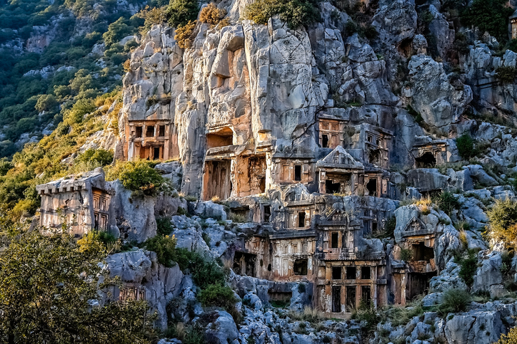 Archeological remains of the Lycian rock cut tombs in Myra, Turkey