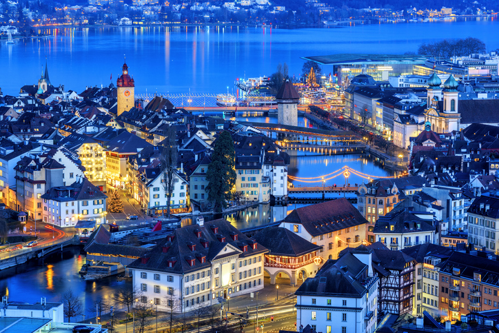 Lucerne Old town and Lake Lucerne illuminated with Christmas lights, Switzerland
