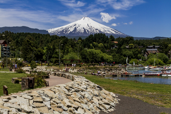 View of the Villarrica volcanoe from a lake