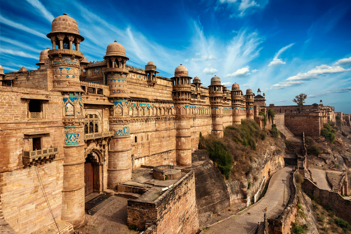 Famous indian landmark - Gwalior fort in daytime. Gwalior, Madhya Pradesh, India